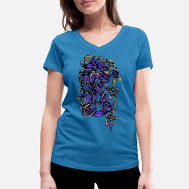 Celtic Knotwork Purple Dragon - Women's Organic V-Neck T-Shirt by Stanley & Stella