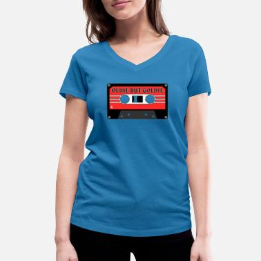 60s 70s Retro Mixtape 60s 70s 80s OLDIE BUT GOLDIE - Women's Organic V-Neck T-Shirt by Stanley & Stella