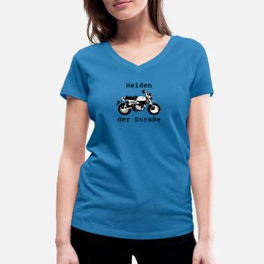 Beefy Heroes of the Road - Monkey Motorcycle Design - Women's Organic V-Neck T-Shirt by Stanley & Stella