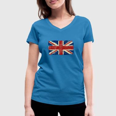 Union Jack - UK - Vintage Look  - Women's Organic V-Neck T-Shirt by Stanley & Stella