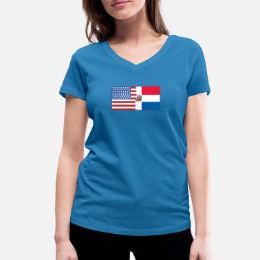 Santo Domingo Half Dominican Half USA Flags - Women's Organic V-Neck T-Shirt by Stanley & Stella