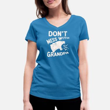 Lone Star Don't Mess With Grandma Texas Lone Star Mothers - Women's Organic V-Neck T-Shirt by Stanley & Stella