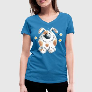Funny dog with flower - Women's Organic V-Neck T-Shirt by Stanley & Stella