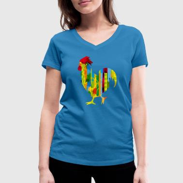 A colorful rooster - Women's Organic V-Neck T-Shirt by Stanley & Stella