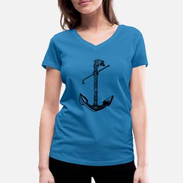 Seaman Anchor anchor - Women's Organic V-Neck T-Shirt by Stanley & Stella