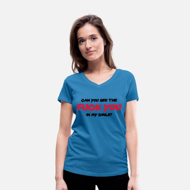"Liefhebben T-Shirts - Can you see the ""Fuck You"" in my smile? - Vrouwen V-hals bio T-shirt pauwblauw"