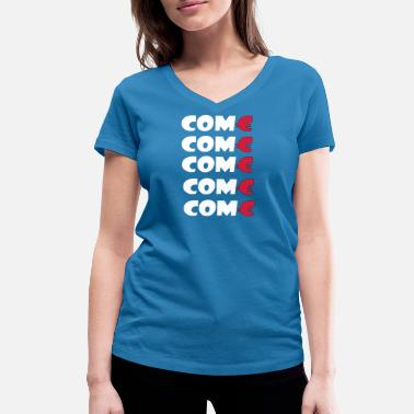 Singapore Thailand come come come design for men and women - Women's Organic V-Neck T-Shirt by Stanley & Stella