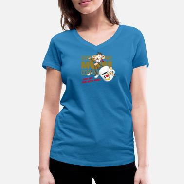 Flat Rate Give me more coffee - and no one gets hurt! - Women's Organic V-Neck T-Shirt by Stanley & Stella