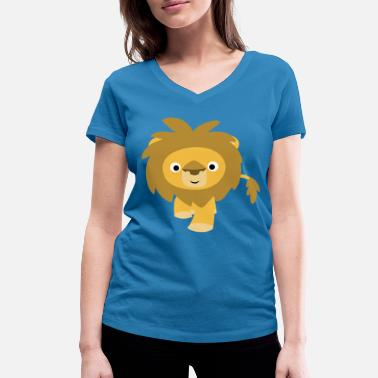 Cute Affable Cartoon Lion by Cheerful Madness!! - Women's Organic V-Neck T-Shirt by Stanley & Stella