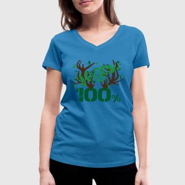 Plant Strong vegan 100% percent plants - Women's Organic V-Neck T-Shirt by Stanley & Stella
