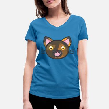 Bariolé Mako le chat bariolé - T-shirt bio col V Stanley & Stella Femme