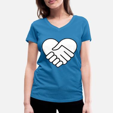 Heart Hands Hand in hand heart white - Women's Organic V-Neck T-Shirt by Stanley & Stella