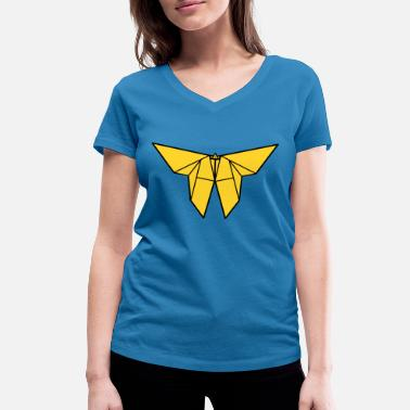 Paper Cutting origami paper plane paper airplane9 - Women's Organic V-Neck T-Shirt by Stanley & Stella