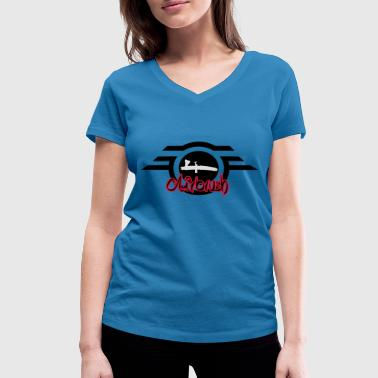 Airbrush logo with lettering - Women's Organic V-Neck T-Shirt by Stanley & Stella