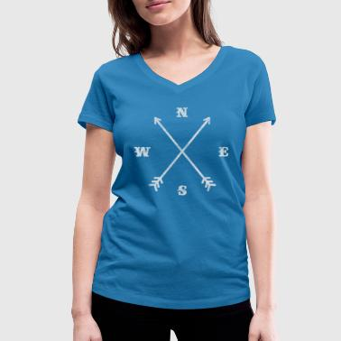 Hipster compass / crossed arrows / retro look - T-shirt bio col V Stanley & Stella Femme