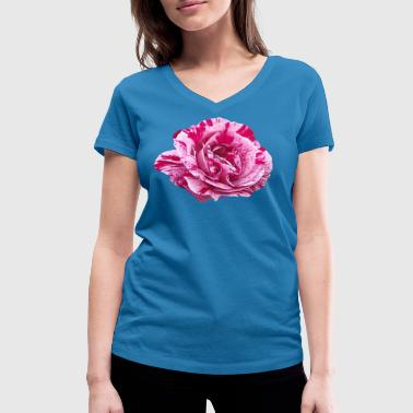 Pink striped rose - Women's Organic V-Neck T-Shirt by Stanley & Stella