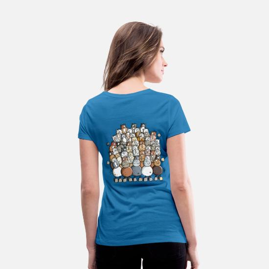 Horse T-Shirts - Colorful Pile Of Horses - Horse - Women's Organic V-Neck T-Shirt peacock-blue