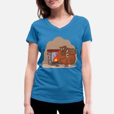 795a4bd56370 Mysig stuga i vintergåva idé - Ekologisk T-shirt med V-ringning dam