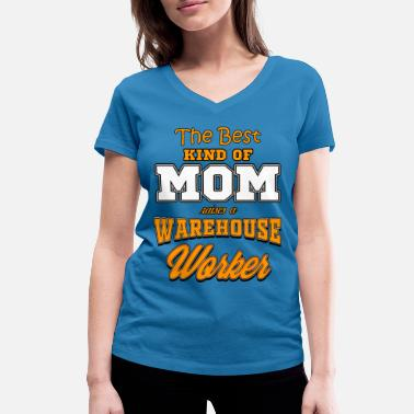 Worker WAREHOUSE WORKER MOM - Women's Organic V-Neck T-Shirt