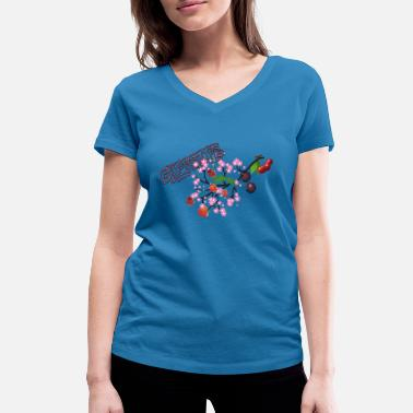 Cherry Cherries. Cherries with cherry blossoms. - Women's Organic V-Neck T-Shirt