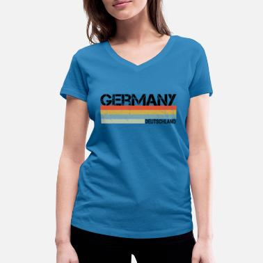 Germany & German Retro Vintage Stripes Graphic - Women's Organic V-Neck T-Shirt