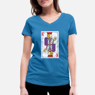 Poker COOLES POKERSHIRT HERZ ASS ROYAL FLUSH POKER GIFT - Frauen Bio T-Shirt mit V-Ausschnitt