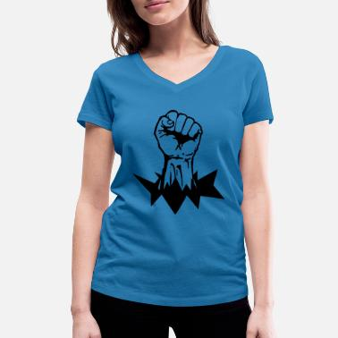 Power Black Power Fist - Women's Organic V-Neck T-Shirt