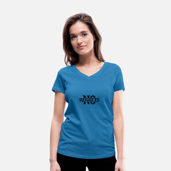Lettering T-Shirts - No Regrets - Women's Organic V-Neck T-Shirt peacock-blue