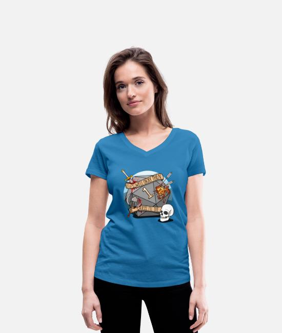 Dungeons And Dragons T-Shirts - Guess I'll Die - DND D & D Dungeons and Dragons - Women's Organic V-Neck T-Shirt peacock-blue