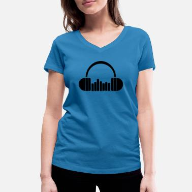 Headphones, Music, Music, Beats, Party, Celebrations - Women's Organic V-Neck T-Shirt