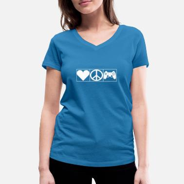 Leible Love, Peace and Gaming - Leibl Designs - Women's Organic V-Neck T-Shirt