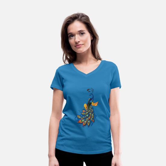 Ostrich T-Shirts - Bird Ostrich - Colorful Bouquet - Women's Organic V-Neck T-Shirt peacock-blue