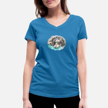 small dog - Women's Organic V-Neck T-Shirt