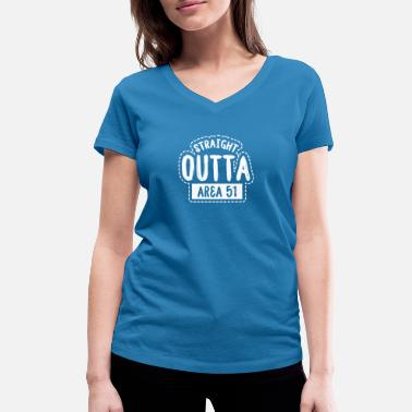 Space Ship Straight Outta Area51 Roswell aliens UFO crash - Women's Organic V-Neck T-Shirt