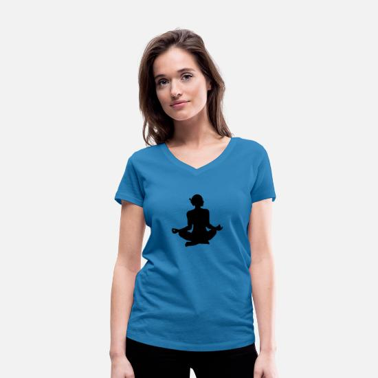 Bless You T-Shirts - Yoga exercise - Women's Organic V-Neck T-Shirt peacock-blue