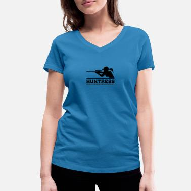Chasseuse chasseuse chasseuse - T-shirt bio col V Femme