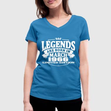 Legends are born in march 1966 - Women's Organic V-Neck T-Shirt by Stanley & Stella