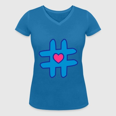 Hashtag Heart - Women's Organic V-Neck T-Shirt by Stanley & Stella