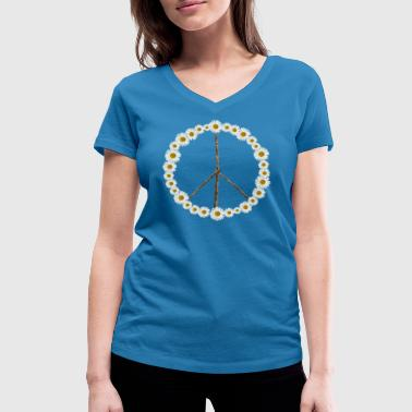 Peace sign made of flowers - Women's Organic V-Neck T-Shirt by Stanley & Stella
