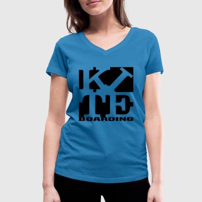 kite homage to robert Indiana boarding black - Women's Organic V-Neck T-Shirt by Stanley & Stella