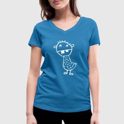 spotted tooth monster - Women's Organic V-Neck T-Shirt by Stanley & Stella