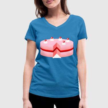 birthday cake - Women's Organic V-Neck T-Shirt by Stanley & Stella
