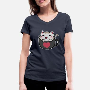 Cat sits in a cup and laughs sweetly - Women's Organic V-Neck T-Shirt by Stanley & Stella