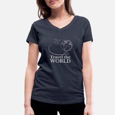 World Travel Travel the world - Traveling the World I World Tour - Women's Organic V-Neck T-Shirt by Stanley & Stella