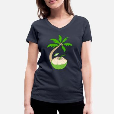 Coconut Island Coconut Palm Tree Drink Cocktail Pool Beach - Women's Organic V-Neck T-Shirt by Stanley & Stella