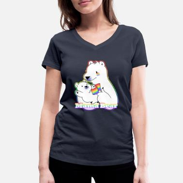 Bear Gay LGBT Gay Gay Mama Bear - Women's Organic V-Neck T-Shirt by Stanley & Stella