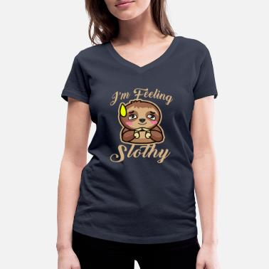 Sleep Jokes Sloth Slowly Lazy Sleeping Tired Joke Gift - Women's Organic V-Neck T-Shirt by Stanley & Stella