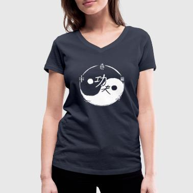 Shaolin Design Ying and Yang Kungfu / 5 elements / white - Women's Organic V-Neck T-Shirt by Stanley & Stella
