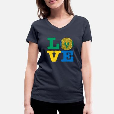 Vincent ST VINCENT GRENADIN HEART - Women's Organic V-Neck T-Shirt by Stanley & Stella