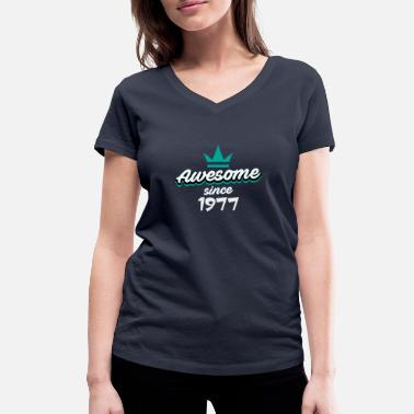 Birth 1977 1977 birth year birthday - Women's Organic V-Neck T-Shirt by Stanley & Stella